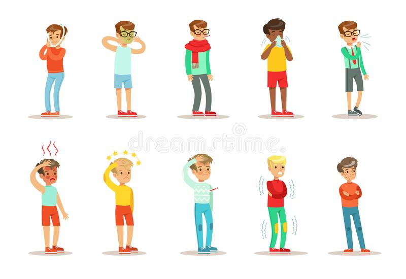 Sickness kids set, boys suffering from different symptoms vector Illustrations on a white background royalty free illustration