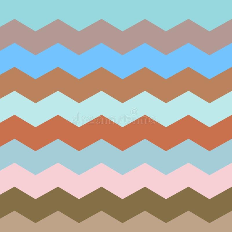 Sicksack och bandlinje Retro pastellfärgade färger stock illustrationer