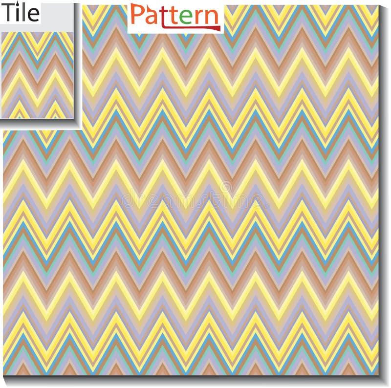 Sicksack och bandlinje tegelplatta med prövkopiamodellen Vektorillustra vektor illustrationer