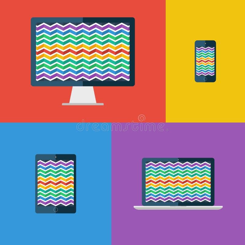 Sicksackbakgrund Skrivbords- bildskärm, bärbar dator, minnestavla och smartphone (Redigerbar tillgänglig vektoreps-mapp royaltyfri illustrationer