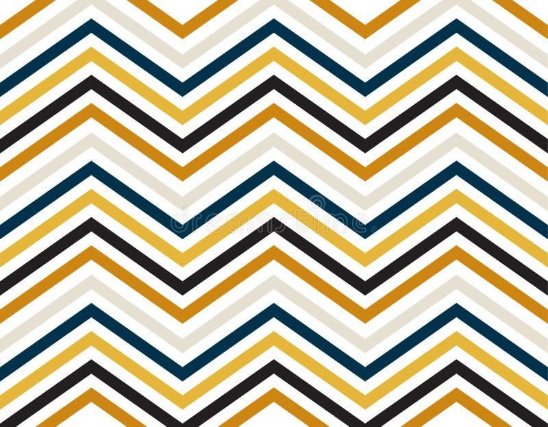 Sicksacklinjer av blått, guld, grå färger och svart färg på vit bakgrund royaltyfri illustrationer