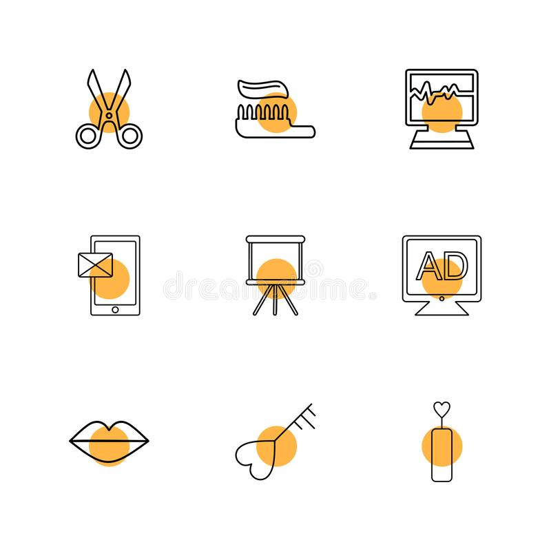 Sicssor; tooth paste; ecg; medical; message; board; tv; ad; lips. Heart; icon; vector; design; flat; collection; style; creative; icons stock illustration