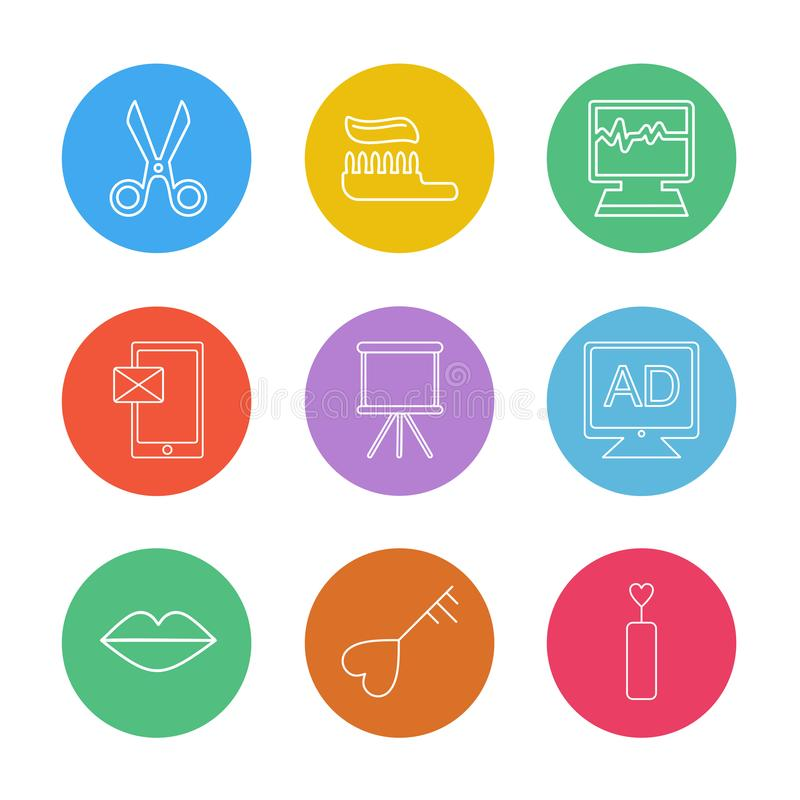 Sicssor; tooth paste; ecg; medical; message; board; tv; ad; lips. Heart; icon; vector; design; flat; collection; style; creative; icons vector illustration