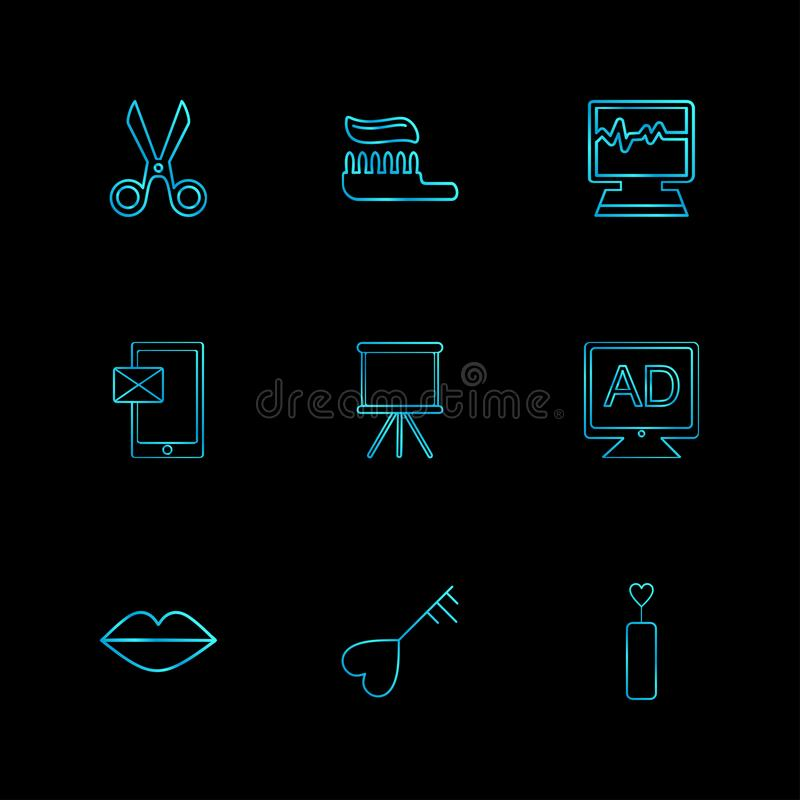 Sicssor; tooth paste; ecg; medical; message; board; tv; ad; lips. Heart; icon; vector; design; flat; collection; style; creative; icons - This Vector EPS 10 royalty free illustration