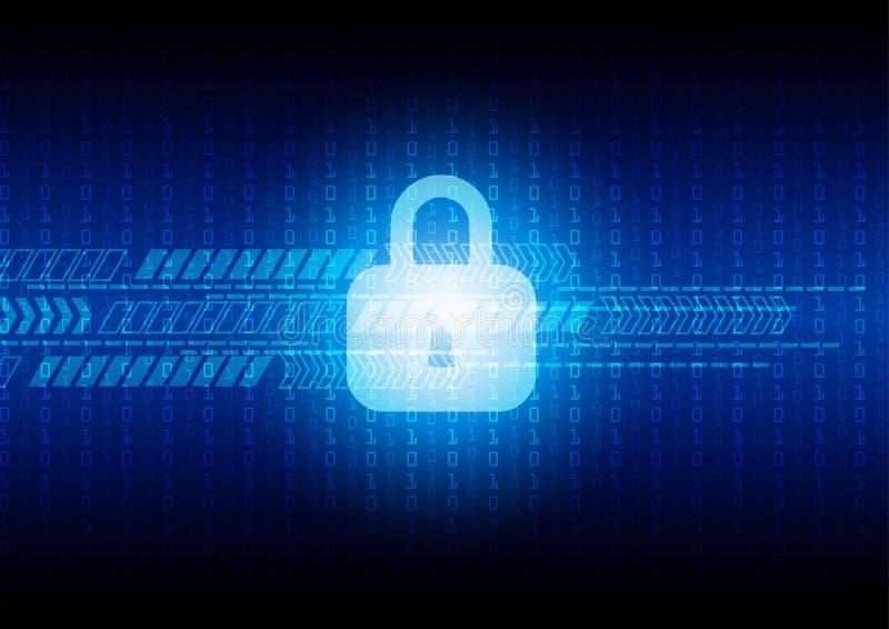 Sicurezza astratta di tecnologia su fondo digitale, illus di vettore illustrazione vettoriale