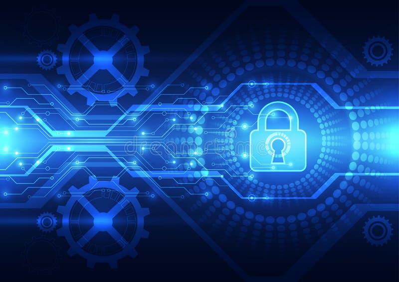 Sicurezza astratta di tecnologia sul fondo della rete globale, illustrazione di vettore royalty illustrazione gratis