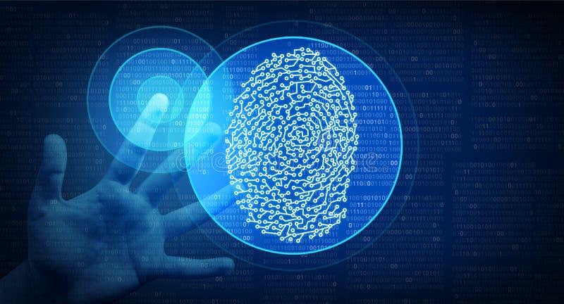 Sicurezza cyber Access di identità biometrica illustrazione vettoriale