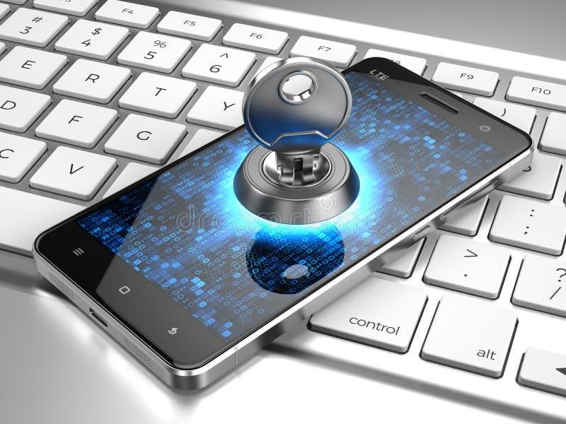 Sicurezza cyber, concetto della segretezza di informazioni - telefoni con la chiave sulla tastiera di computer illustrazione vettoriale