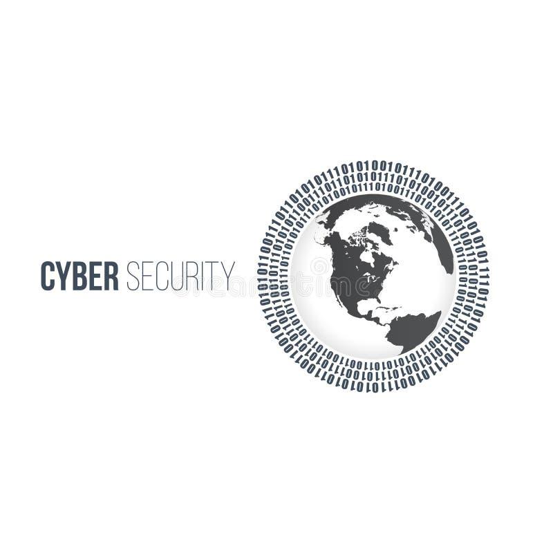 sicurezza cyber di concetto astratto di tecnologia con il mondo del cerchio e cerchi binari digitali intorno  Illustrazione di ve illustrazione vettoriale