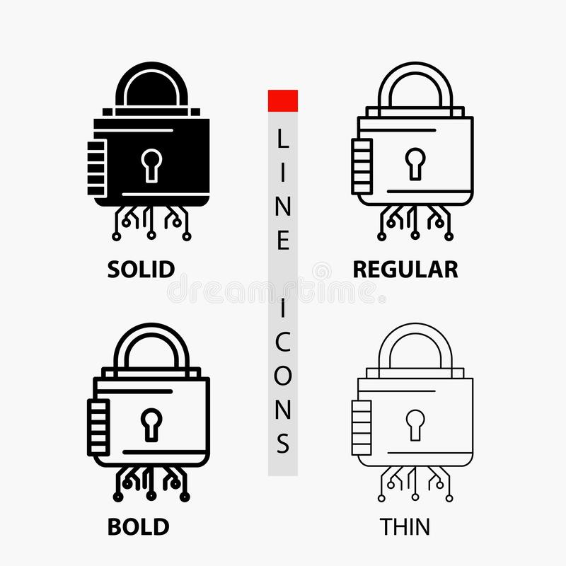 Sicurezza, cyber, serratura, protezione, icona sicura nella linea e nello stile sottili, regolari, audaci di glifo Illustrazione  immagine stock libera da diritti