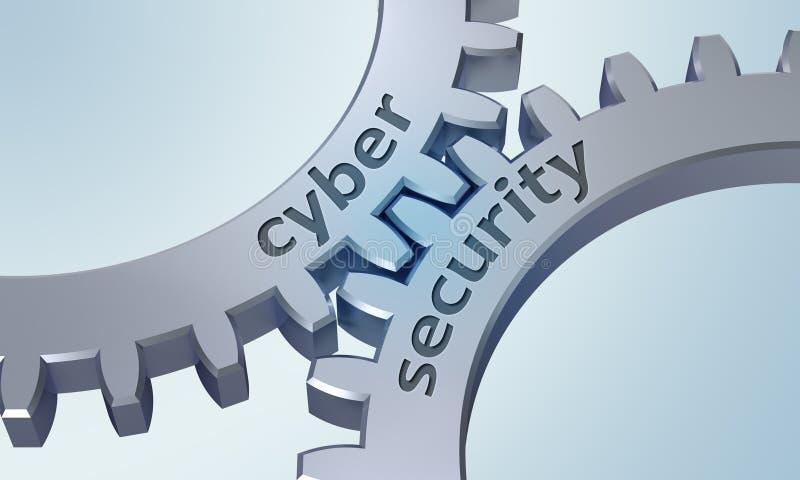 Sicurezza cyber sugli ingranaggi del metallo royalty illustrazione gratis