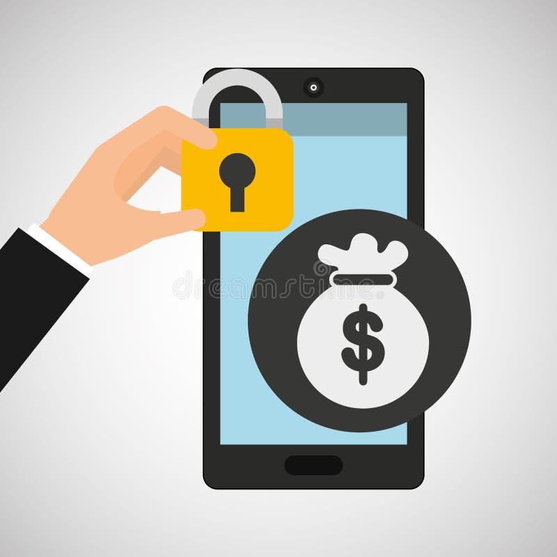 Sicurezza dei soldi della borsa di Smartphone illustrazione vettoriale