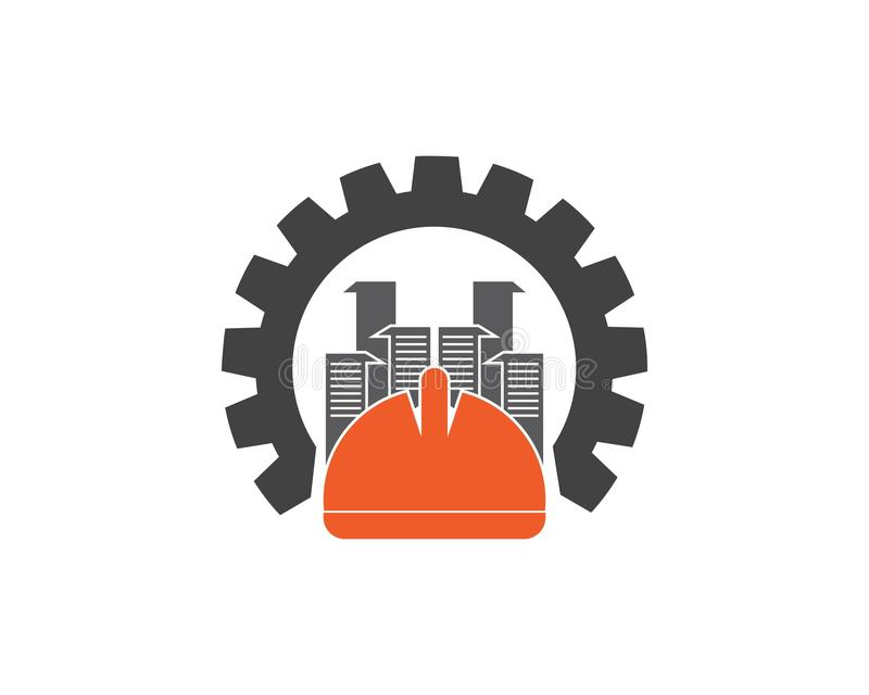 Sicurezza del casco che costruisce Logo Design Template illustrazione vettoriale