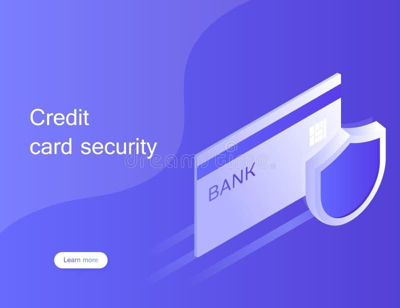 Sicurezza della carta di credito di concetto Sistema di protezione online di pagamento con lo smartphone illustrazione di stock