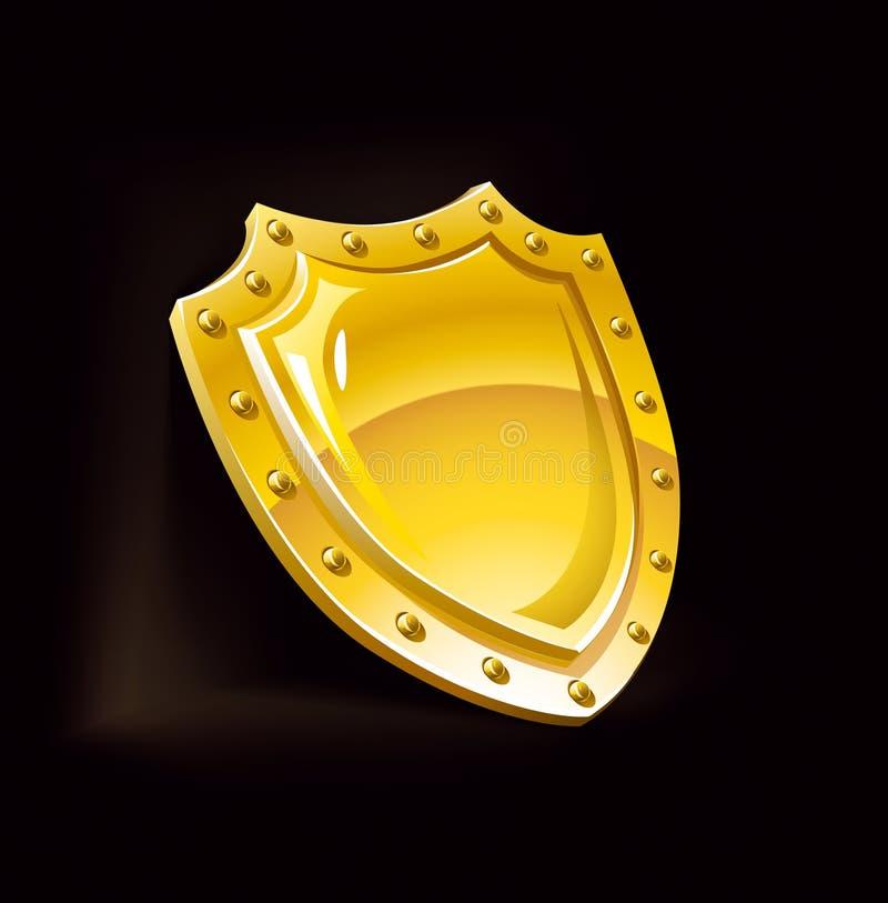 Sicurezza della protezione dello schermo di obbligazione dell'oro illustrazione di stock