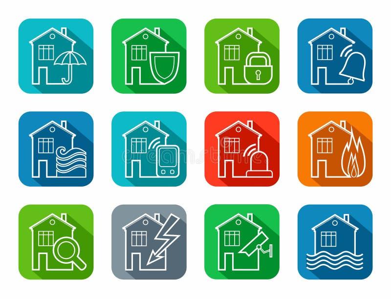 Sicurezza di alloggio e degli edifici per uffici, icone, contorno, colorato illustrazione di stock