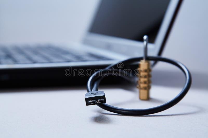 Sicurezza di Internet o del computer Concetto di protezione dei dati: cavo, serratura e computer portatile del usb nei precedenti immagini stock libere da diritti