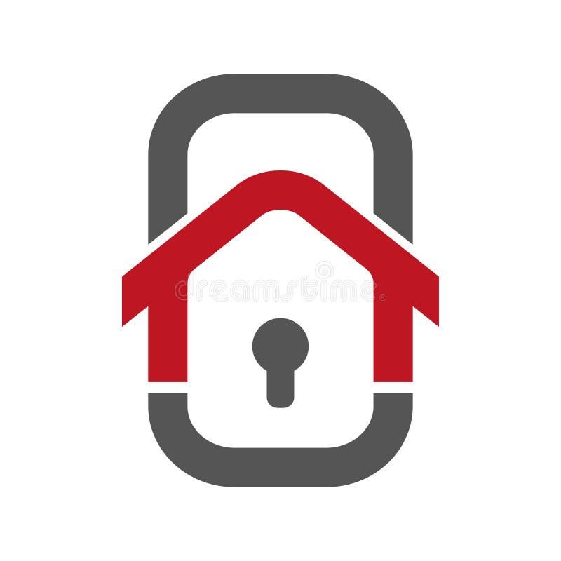 Sicurezza domestica Logo Template Concetto di sicurezza domestica astuta Controllo della casa facendo uso dello smartphone Rappre royalty illustrazione gratis