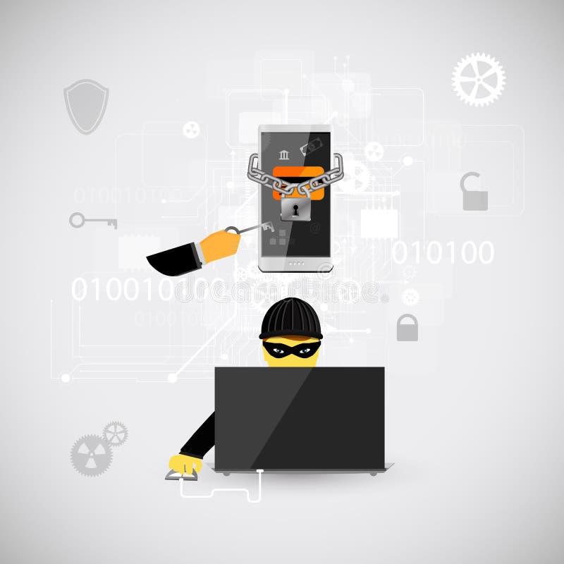 Sicurezza e protezione di Internet contro gli attacchi del virus royalty illustrazione gratis