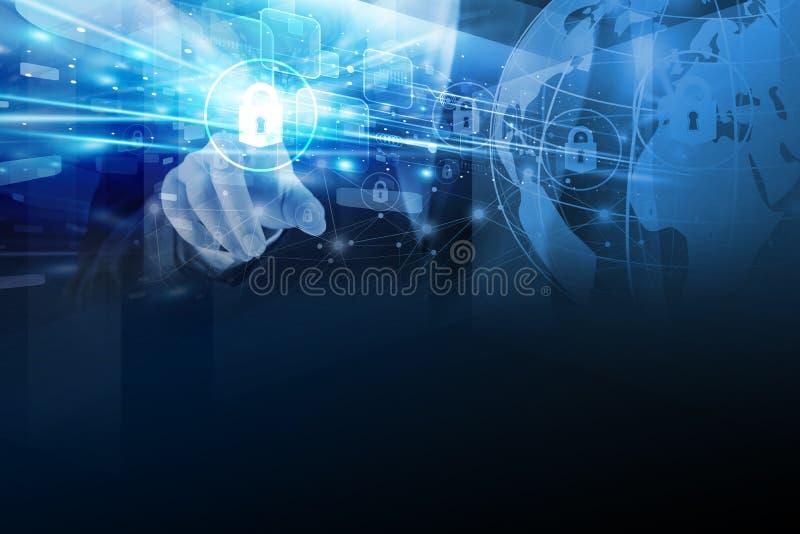 Sicurezza globale commovente di tecnologia della mano della donna di affari illustrazione di stock