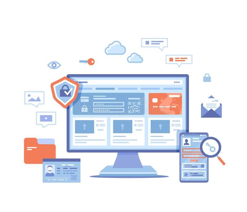 Sicurezza Internet Protezione dei dati personali dell'utente, riservatezza della sicurezza, rete sicura Monitor e telefono con sc royalty illustrazione gratis