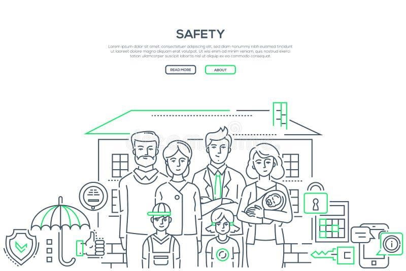 Sicurezza - linea insegna di stile di progettazione royalty illustrazione gratis