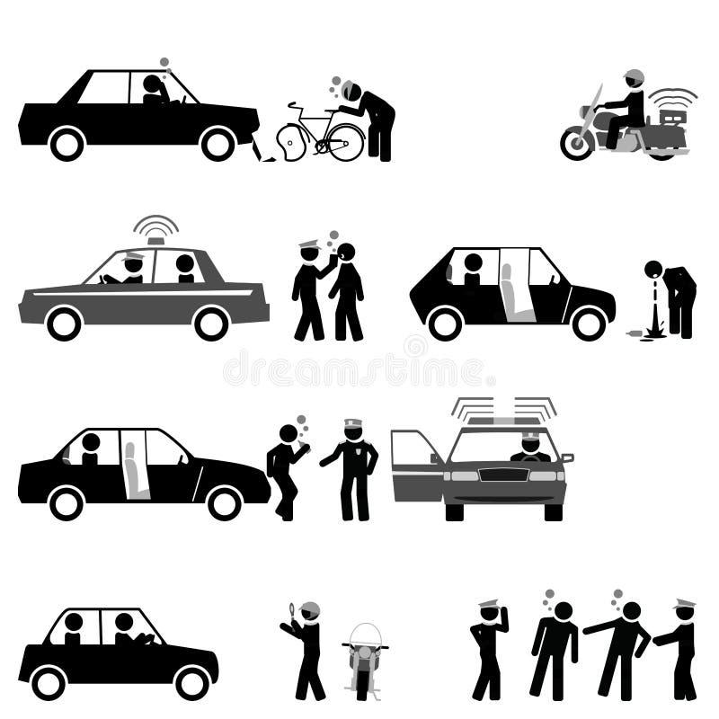 Sicurezza stradale di controllo di polizia stradale e sobrietà dei driver illustrazione di stock