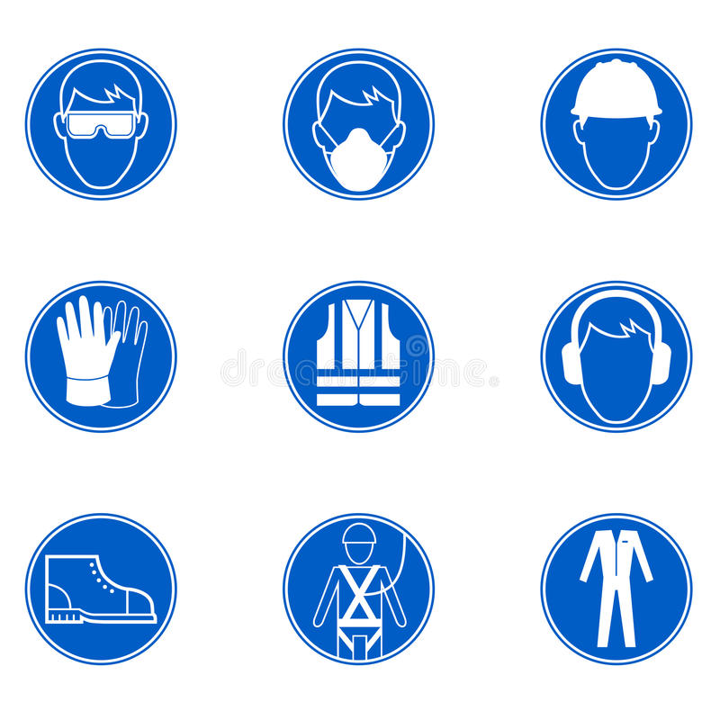Sicurezza sul posto di lavoro i segni illustrazione vettoriale
