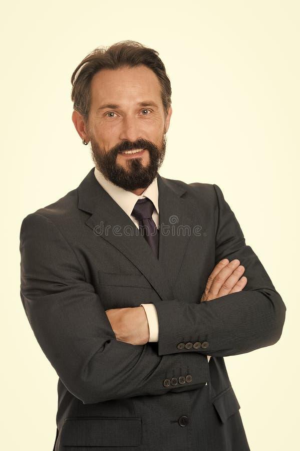 Sicuro nella sua decisione L'abbigliamento convenzionale classico dell'uomo d'affari ha preso la decisione Il comportamento di af fotografia stock