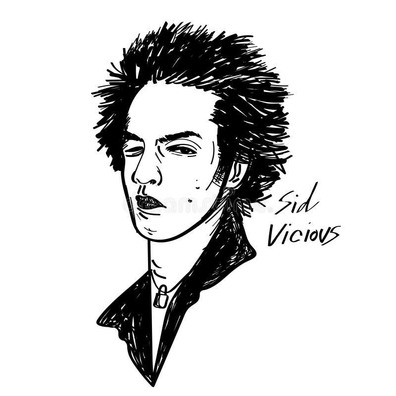 Sid vicious vector cartoon illustration black and white drawing. Sid vicious punk rock icon vector cartoon illustration sketch stlyle