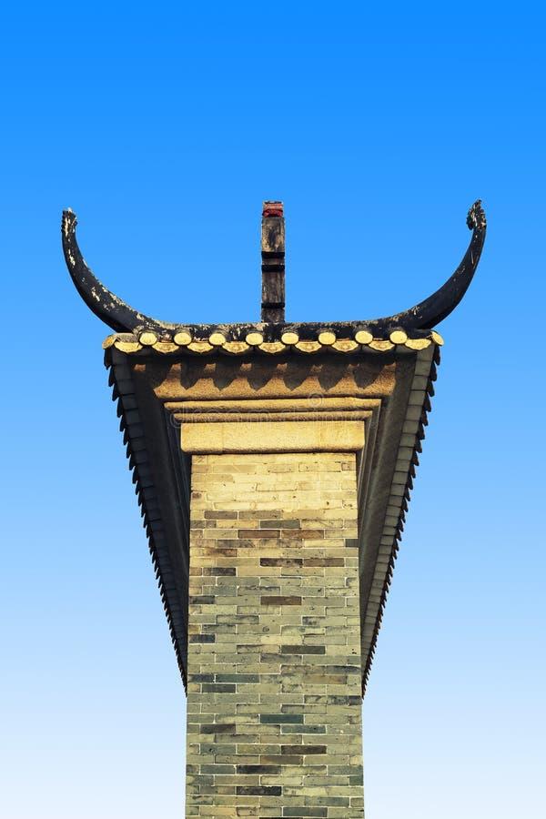 Sida av den kinesiska traditionella ingångsskärmväggen med klassisk design och modellen i orientalisk stil i Kina royaltyfri fotografi