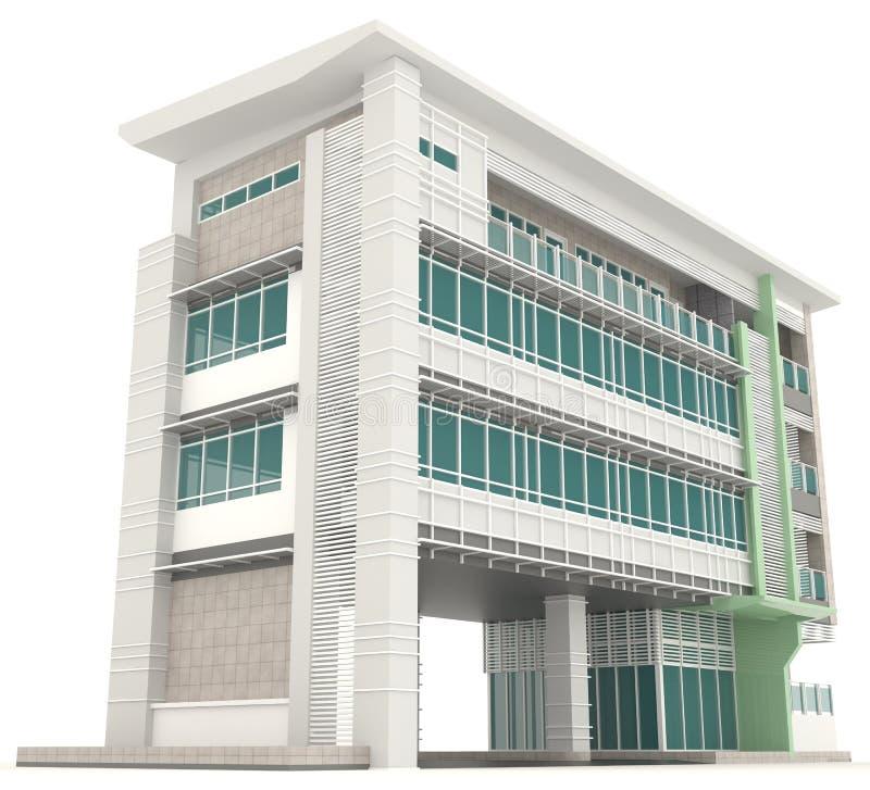 Sida av yttre design I för modern arkitektur för kontorsbyggnad 3D stock illustrationer