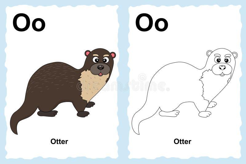 Sida för alfabetfärgläggningbok med översiktsgemkonst som färgar stock illustrationer