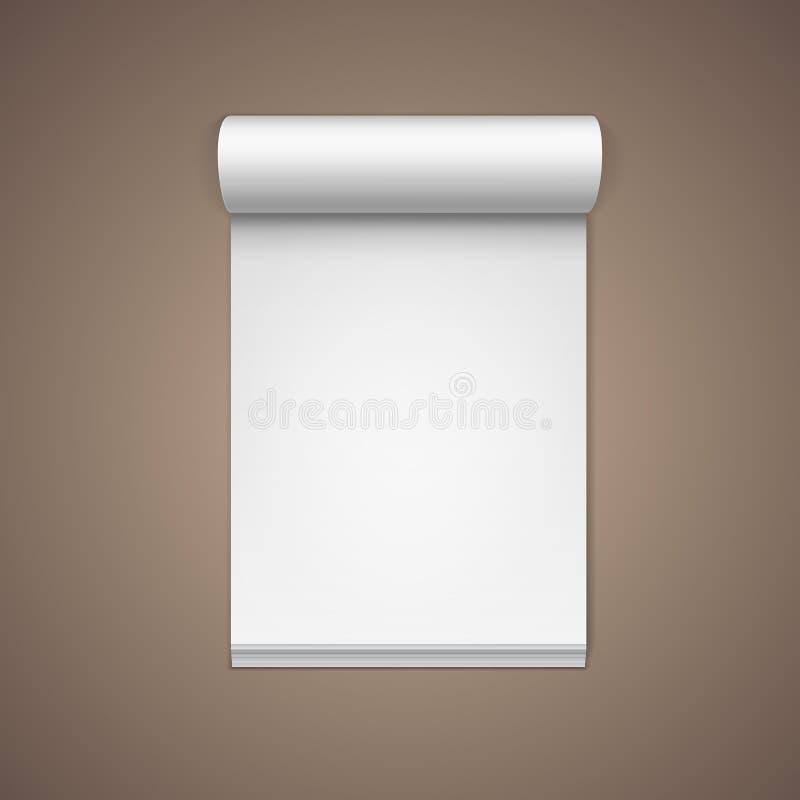 Sida för anteckningsbok för anmärkning för tomt papper för vektor vit royaltyfri illustrationer