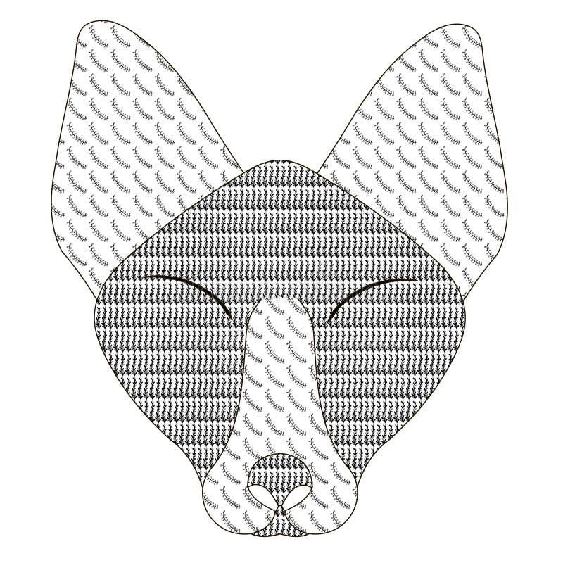 Sida för antistress för materiel för bok för färgläggning för rävhuvudklotter antistress illustration för vektor stock illustrationer