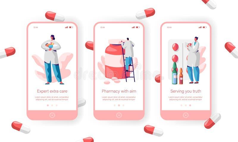 Sida för App för apoteklagerSale piller mobil Onboard skärmuppsättning ApotekareCare Health Customer Website eller webbsida läkar royaltyfri illustrationer