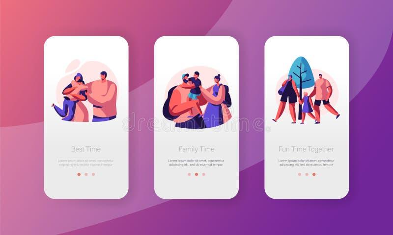 Sida för App för lyckligt familjfolk mobil Onboard skärmuppsättning Förhållande för farsamoder- och sontecken Förälder och unge t vektor illustrationer
