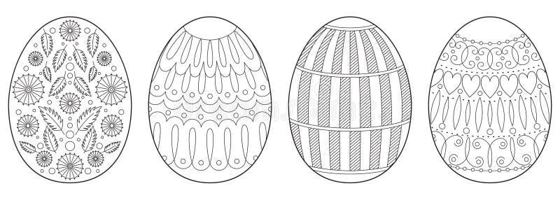 Sida för bok för färgläggning för påskägg vektor illustrationer