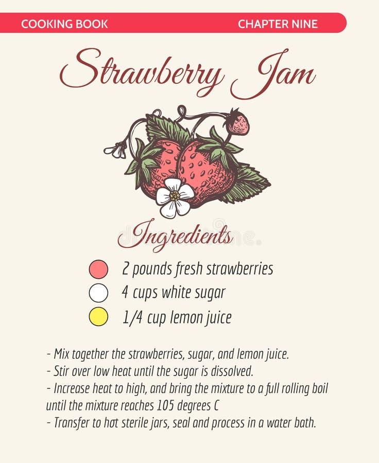 Sida för bok för recept för jordgubbedriftstopp royaltyfri illustrationer