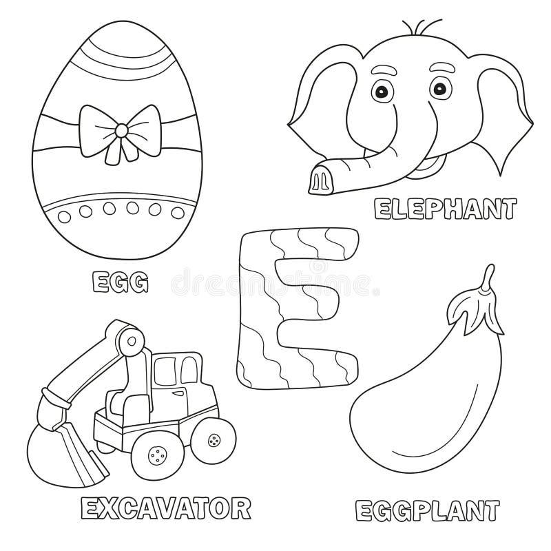 Sida för bok för ungealfabetfärgläggning med skisserade gemkonster Märka E vektor illustrationer