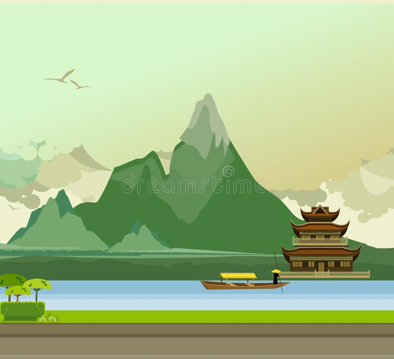 Sida för buddistisk tempel av floden royaltyfri illustrationer