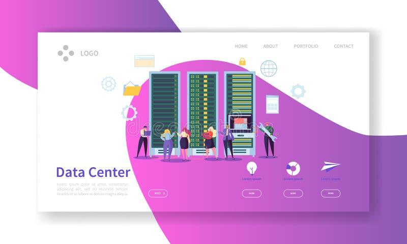 Sida för Data Center begreppslandning Tecken för varande värd service fördunklar mallen för websiten för processen för arbete för stock illustrationer