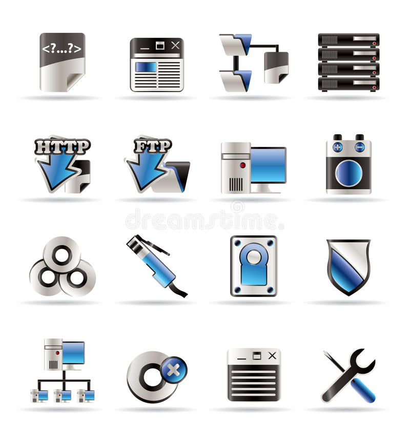 sida för datorsymbolsserver stock illustrationer
