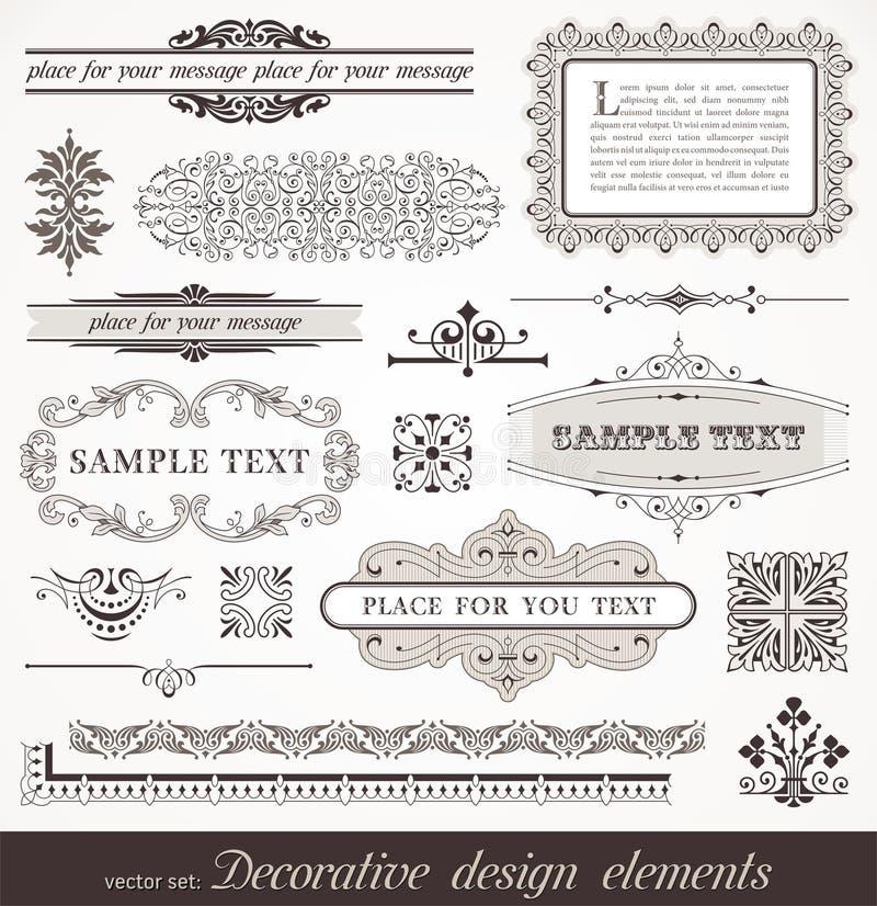 sida för dekordesignelement vektor illustrationer