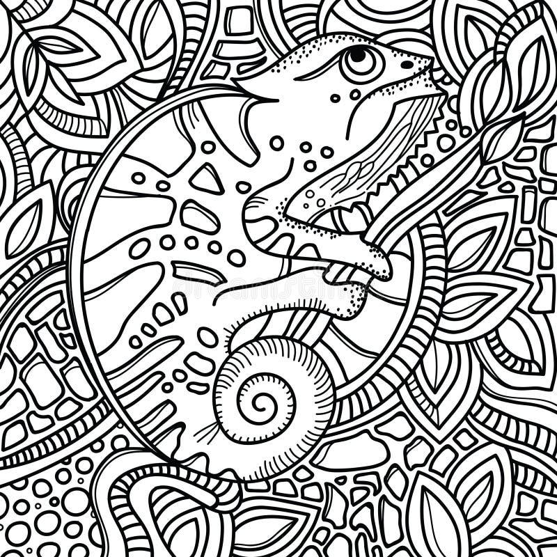 Sida för färgbok med stiliserat kameleontsammanträde på en trädfilial Den drog handen skissar, klottrar, zentangle royaltyfri illustrationer