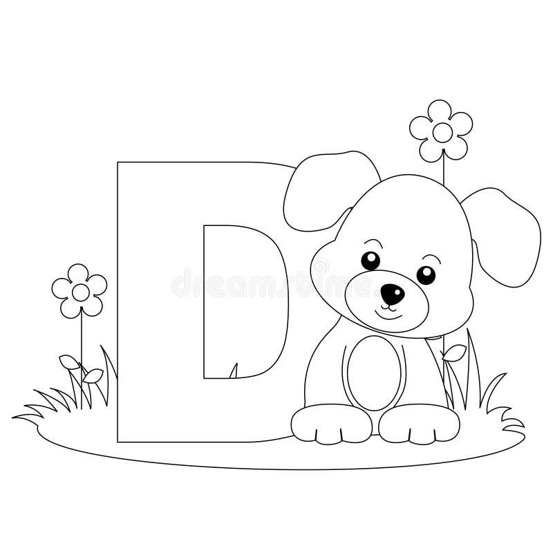 sida för färgläggning D för alfabet djur vektor illustrationer