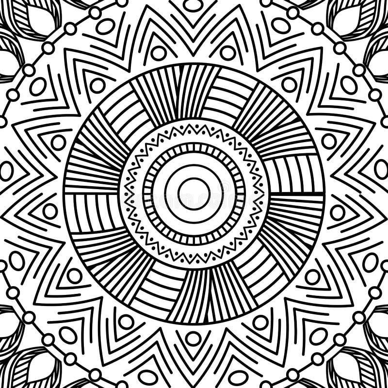 Sida för färgläggning för dekorativ för beståndsdelar för Mandalatappning orientalisk ottoman för modell moroccan vuxen stock illustrationer