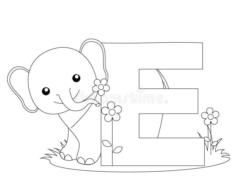 sida för färgläggning e för alfabet djur royaltyfri illustrationer
