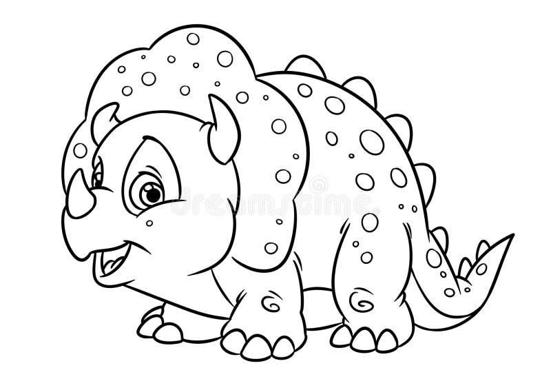 Sida för färgläggning för illustration för tecknad film för tecken för rolig triceratopsdinosaurie djur royaltyfri illustrationer