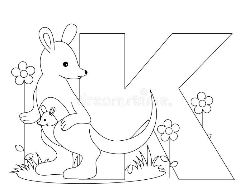 sida för färgläggning K för alfabet djur